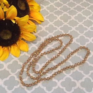 Jewelry - Glass Bead Rosary Style Necklace Gold/Citrine